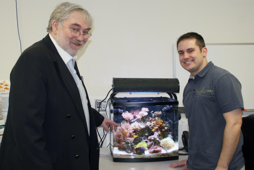 A picture of David Saxby with Jeff Johnston from Marine Depot. Most of the guys at Marine Depot run nano tanks on their desks at work and speak from first hand experience when giving out advice.\