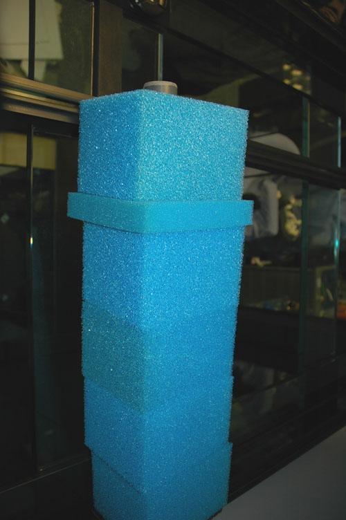 Photo showing the correct order for the sponges in the overflow box.